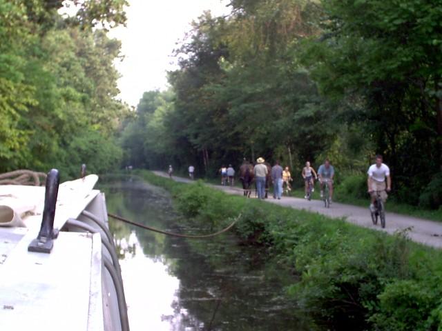 Waiving At Towpath Travelers
