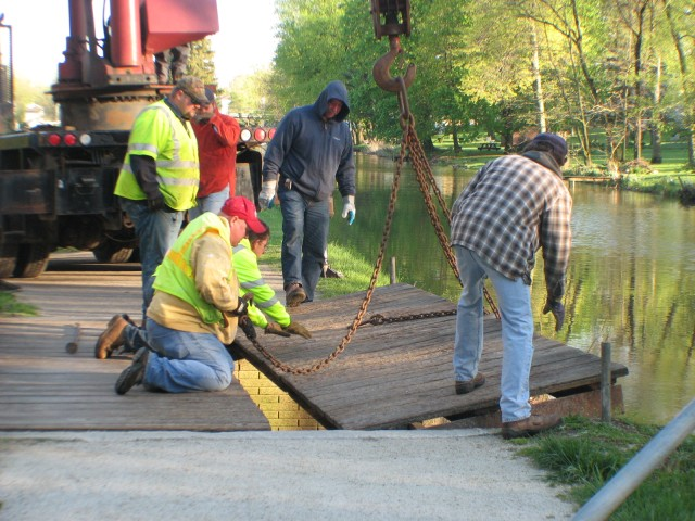 Removing the Towpath Bridge