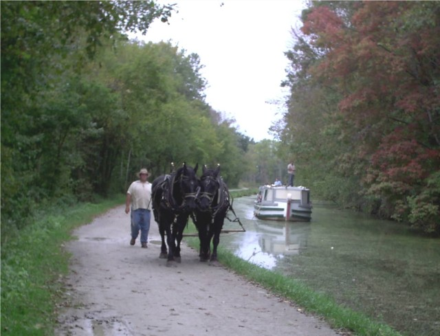The St. Helena III glides down the Ohio & Erie Canal as a boat crew member steers the horses on the towpath trail toward Lock IV.  Students travel down an original section of the Ohio & Erie Canal, just as travelers did in the 1800's, and learn more about the canal's history and how