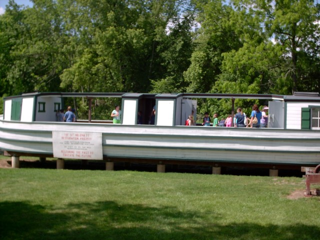 The St. Helena II canal boat is on display next to the Old Canal Days Museum. Students can learn more about the two types of canal boats that traveled the canalways.